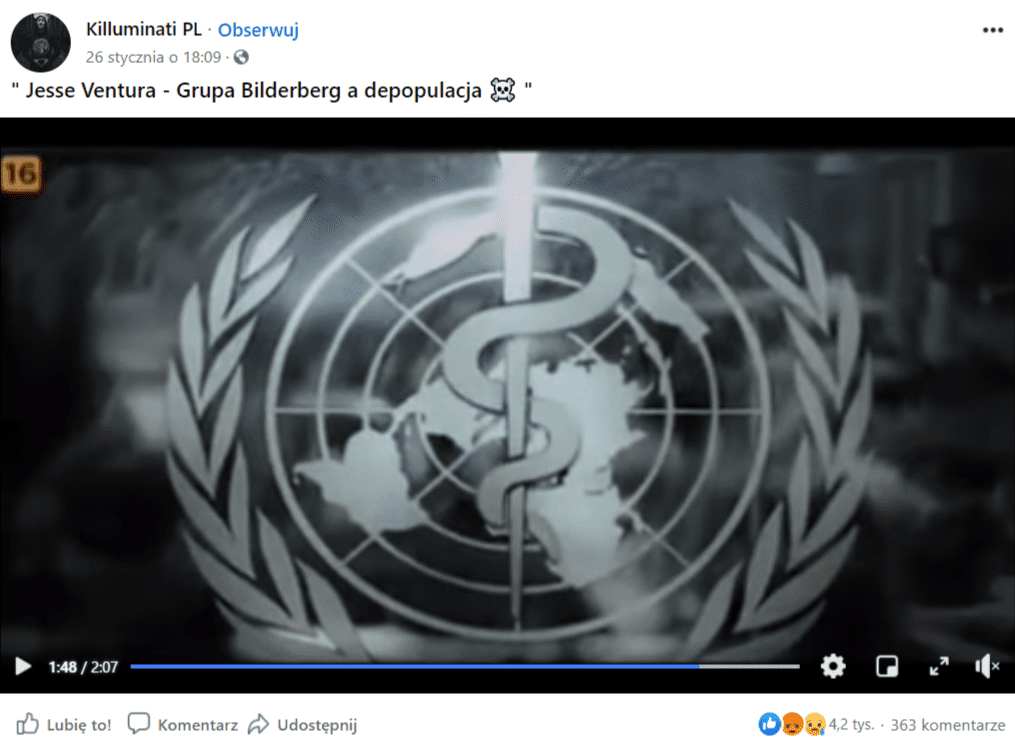 Zrzut ekranu posta naFacebooku zfilmem poświęconym teorii spiskowej natemat grupy Bilderberg.