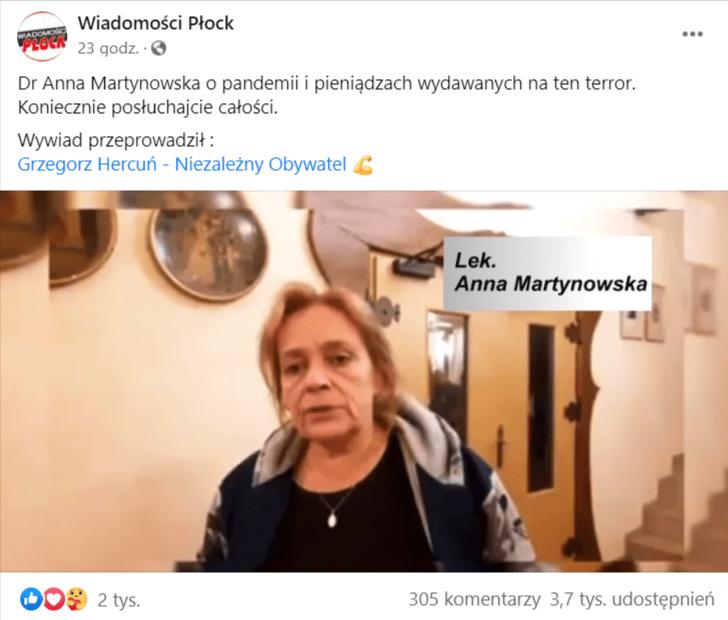Zrzut ekranu wpisu naFacebooku wraz zudostępnieniem filmu autorstwa lek. Anny Martynowskiej. Nazrzucie widoczna jest klatka znagrania. Wcentralnym punkcie widoczna jest kobieta, która znajduje się wprzestronnym pomieszczeniu.