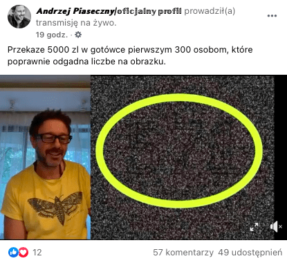 Transmisja nażywo zfejkowego profilu Andrzeja Piasecznego. Nazdjęciu widać artystę orazżółte kółko.