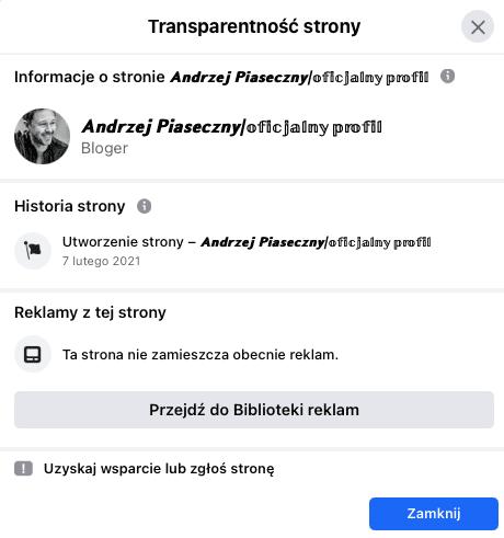 Zakładka transparentność strony naFacebookowym profilu.
