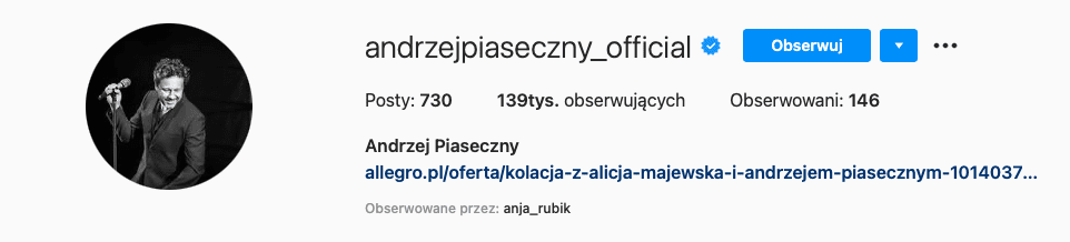 Zweryfikowany profil Andrzeja Piasecznego naFacebooku.