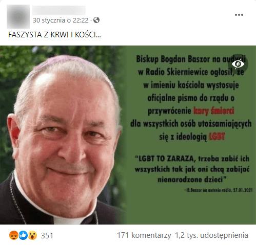 Analizowany post naFacebooku zpodobizną duchownego itekstem.