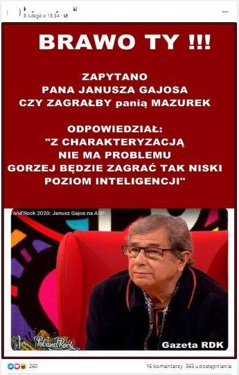 Analizowany post naFacebooku. Nazdjęciu Janusz Gajos.