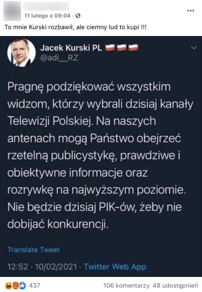 Analizowany post naFB zrzekomym tweetem Jacka Kurskiego