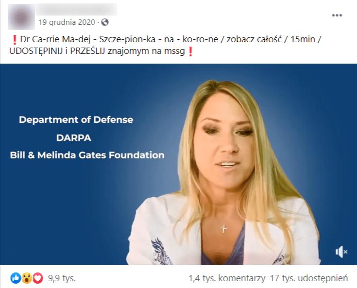 Zarzut ekranu filmu opublikowanego naFacebooku natablicy prywatnego użytkownika. Naklatce znagrania widoczna jest osteopatka Carrie Madej wbiałym fartuchu naniebieskim tle wraz zwyświetlanymi napisami natemat osób, które wjej przekonaniu mają odpowiadać zaplany zmiany ludzkich genów przyużyciu szczepionek.