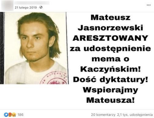 Analizowany post naFacebooku. Nazdjęciu młody mężczyzna.