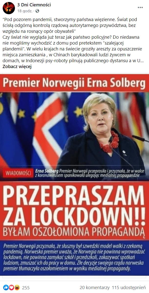 """Wpis przedstawiający norweską premier Ernę Solberg wraz zpodpisem wskazującym nato, żemiała przeprosić zalockdown. Wcentrum obrazu wielkimi literami napisano: """"Przepraszam zalockdown!!"""" - jak gdyby słowa wypowiedziała szefowa norweskiego rządu. Nawpis zareagowało ponad 200 osób, aponad 100 udostępniło go."""