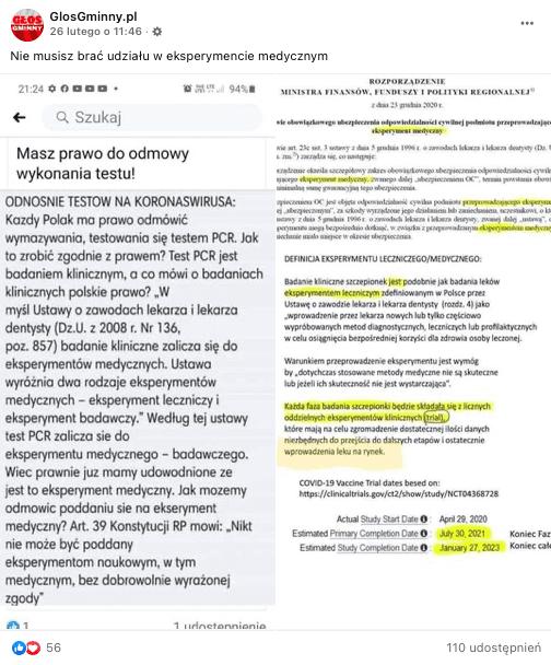 Analizowany post naFacebooku. Jest to zlepek 2 zrzutów ekranu dotyczących testów nakoronawirusa.