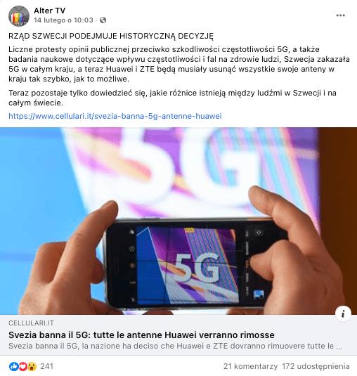 Analizowany tekst naFacebooku. Nazdjęciu ręce trzymające telefon komórkowy (smartfon), który robi zdjęcie napisu 5G.