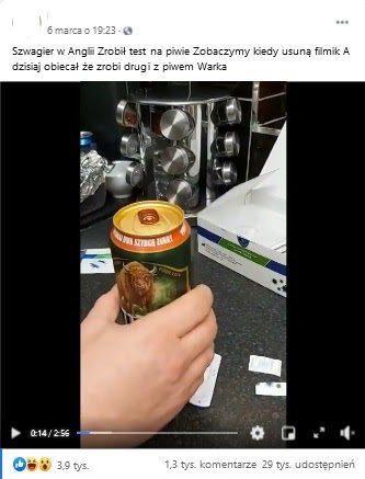 Analizowany film naFacebooku. Wkadrze widzimy piwo irękę osoby.