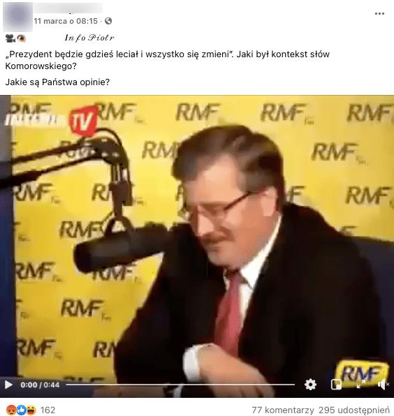 Analizowany film naFacebooku. Nazdjęciu Bronisław Komorowski, zanim ścianka zlogiem RMF24.