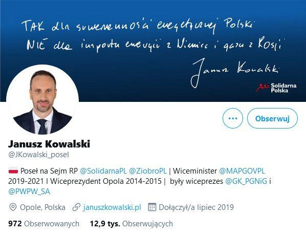 Profil Janusza Kowalskiego naTwitterze.