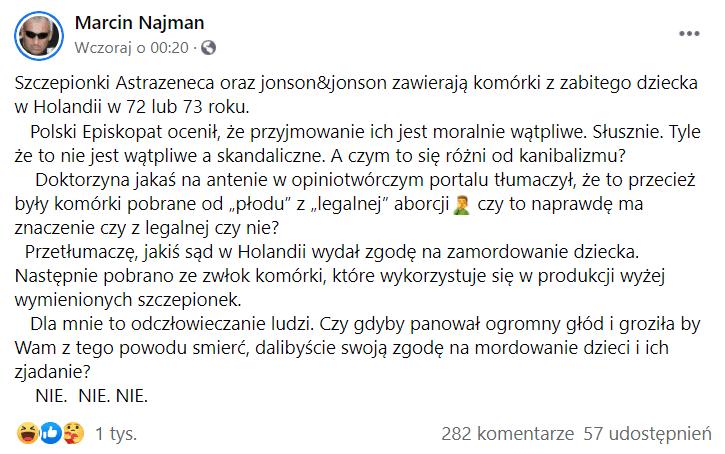 Zrzut ekranu wpisu naFacebooku autorstwa Marcina Najmana. Wpis nie zawiera żadnej grafiki. Napost zareagowało ponad 1000 osób, 282 osoby komentowały go, a57 udostępniło naswoich tablicach.