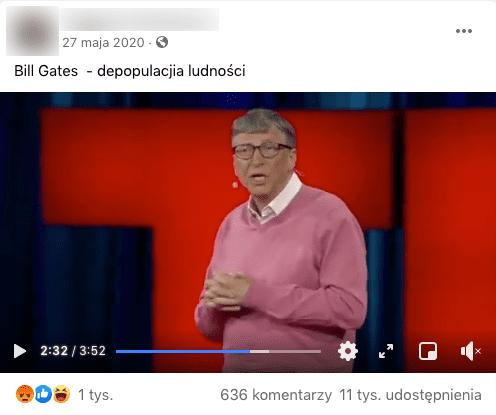 Zrzut ekranu wpisu naFacebooku naprywatnym profilu internauty zdołączonym nagraniem zawierającym fragmenty wystąpienia Billa Gatesa podczas konferencji w2015 roku.