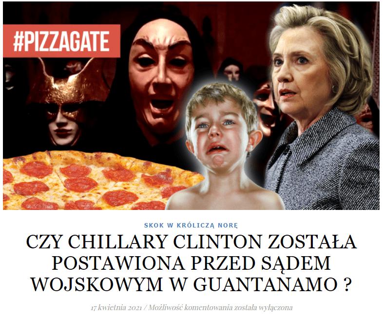 Zdjęcie omawianego artykułu orazgrafiki go ilustrującej. Przedstawia ona kolaż zdjęć, naktórych jest Hillary Clinton, płaczące dziecko, pizza, aw tle - postacie przypominające demony.