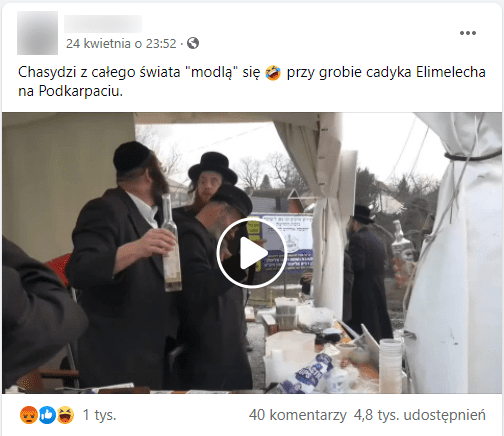 Zdjęcie posta opublikowanego naprywatnym profilu naFacebooku. Wkadrze filmu widać kilku ortodoksyjnych żydów stojących podnamiotem. Jeden znich trzyma butelkę znapojem alkoholowym.