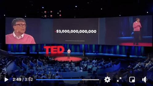 Stopklatka zfilmu zwystąpieniem Billa Gatesa podczas konferencji w2015 roku - nascenie mężczyzna przemawia dozgromadzonych gości, natelebimie zanim wyświetlana jest plansza zwartością: 3 biliony dolarów.