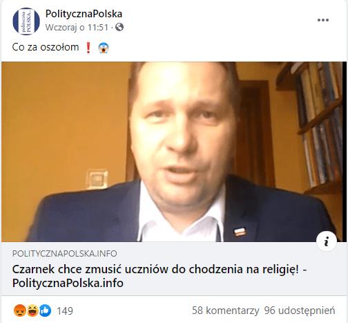 Zdjęcie omawianego posta linkującego doartykułu wserwisie Polityczna Polska. Nazdjęciu ilustrującym artykuł jest zbliżenie natwarz Przemysława Czarnka.