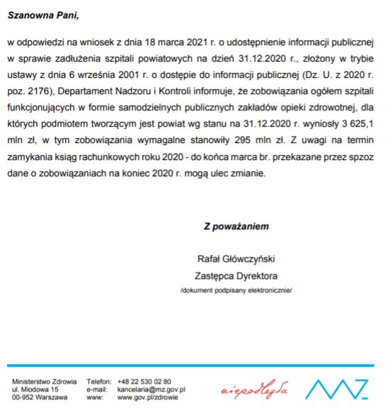 Zadłużenia szpitali powiatowych wgrudniu 2020