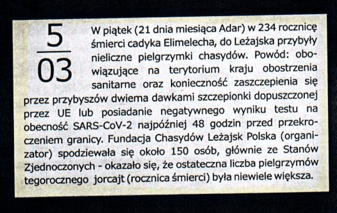 Zdjęcie notatki zkalendarium Biuletynu Miejskiego wydawanego przezSamorząd Miasta Leżajsk.
