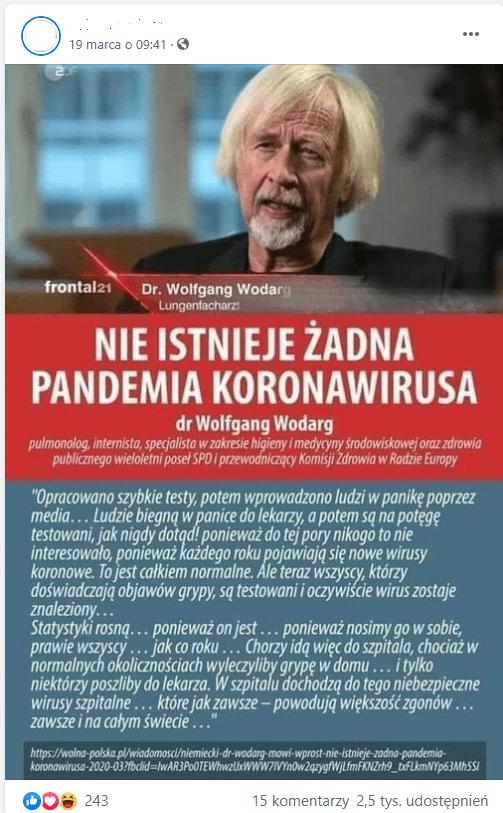 Post naFacebooku ze zdjęciem dr. Wolfganga Wodarga irzekomym cytatem zjego filmu opublikowanym nakanale OVALmedia auf Deutsch. Post został udostępniony 2,5 tys. razy.