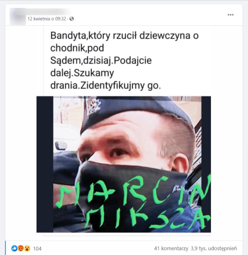 post naFacebooku, gdzie rzekomo pojawia się Marcin Miksza.