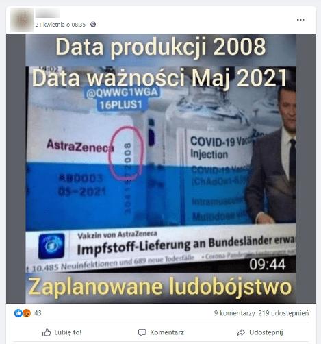 """Zrzut ekranu pochodzi zprofilu naFacebooku. Przedstawia zdjęcie szczepionki AstraZeneca przeciw COVID-19. Nafiolce zakreślono cyfry 2018. Dozdjęcia dołączono napis: """"Data produkcji - 2008. Data ważności - maj 2021. Zaplanowane ludobójstwo""""."""