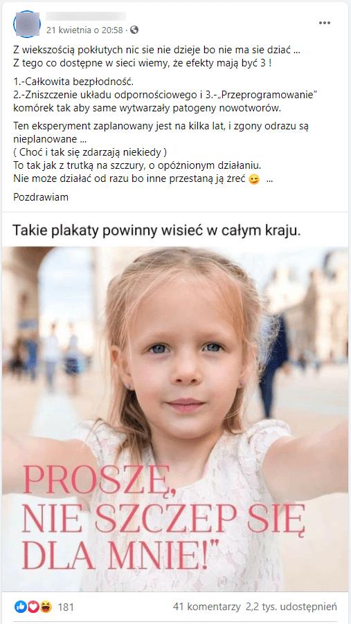 """Zdjęcie omawianego posta. Zilustrowany jest on zdjęciem małej dziewczynki zpodpisem: """"PROSZĘ, NIE SZCZEP SIĘ DLAMNIE!"""" ikomentarzem: """"Takie plakaty powinny wisieć wcałym kraju""""."""