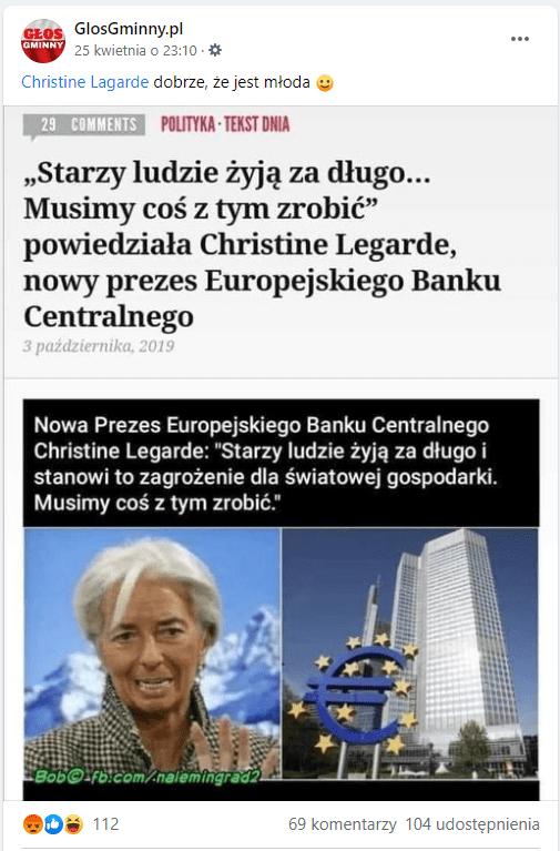 Zdjęcie omawianego posta igrafiki naFacebooku. Podrzekomym cytatem Lagarde widnieją dwa zdjęcia: samej polityczki orazbudynku, wktórym mieści się siedziba Europejskiego Banku Centralnego.
