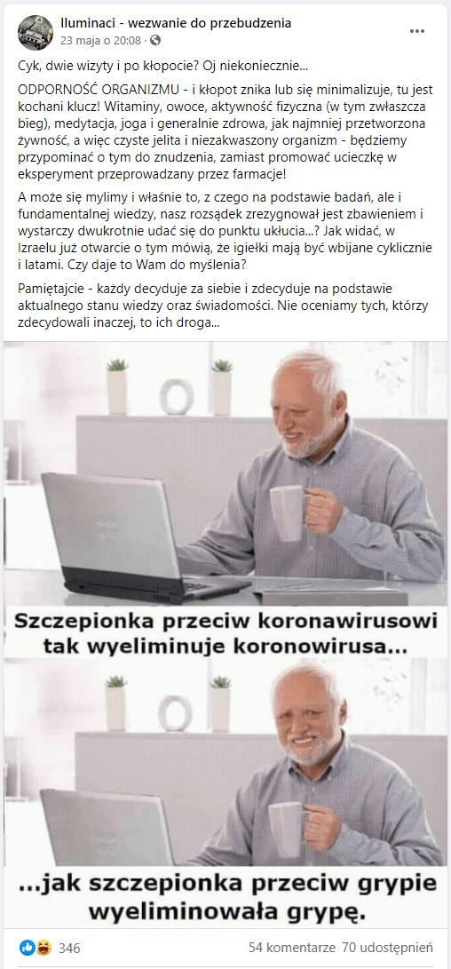 Zdjęcie przedstawia omawianego posta. Dołączona jest doniego grafika zmemem przedstawiającym uśmiechniętego, starszego mężczyznę siedzącego przed laptopem zkubkiem wdłoni.
