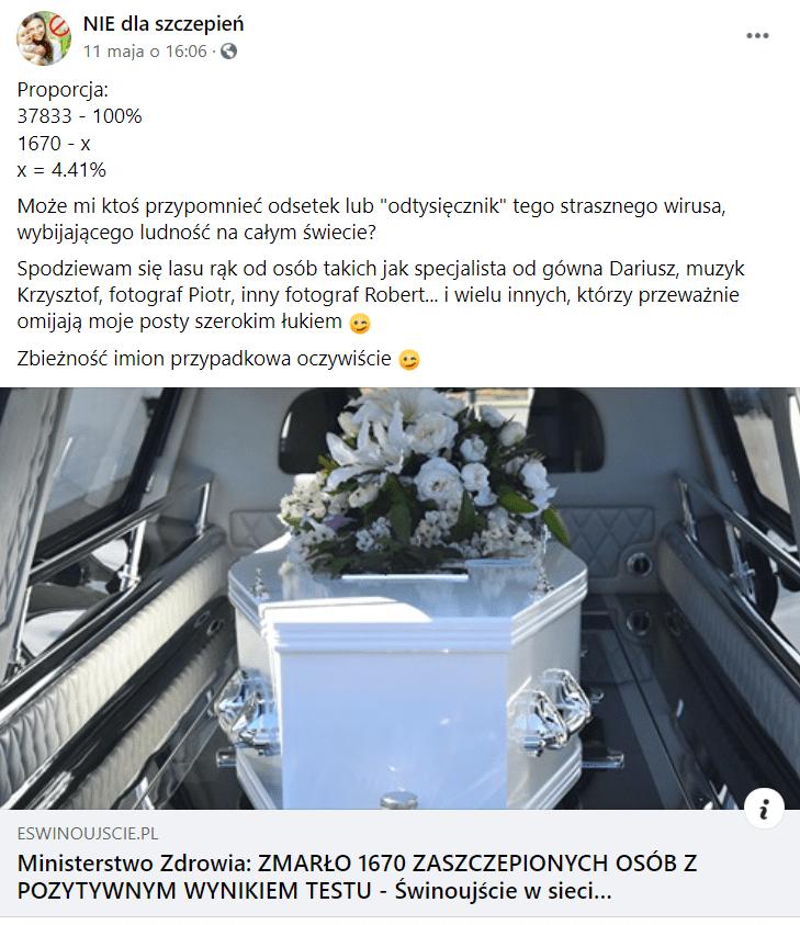 Wpis naFacebooku zawierający odnośnik dotekstu oszczepieniach przeciw COVID-19 naportalu Eswinoujscie.pl. Nazdjęciu, którym opatrzono artykuł, pokazano trumnę wewnątrz karawany pogrzebowej.