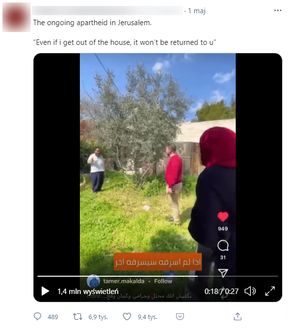 Zdjęcie postu naTwitterze, wktórym zamieszczono omawiane wideo.