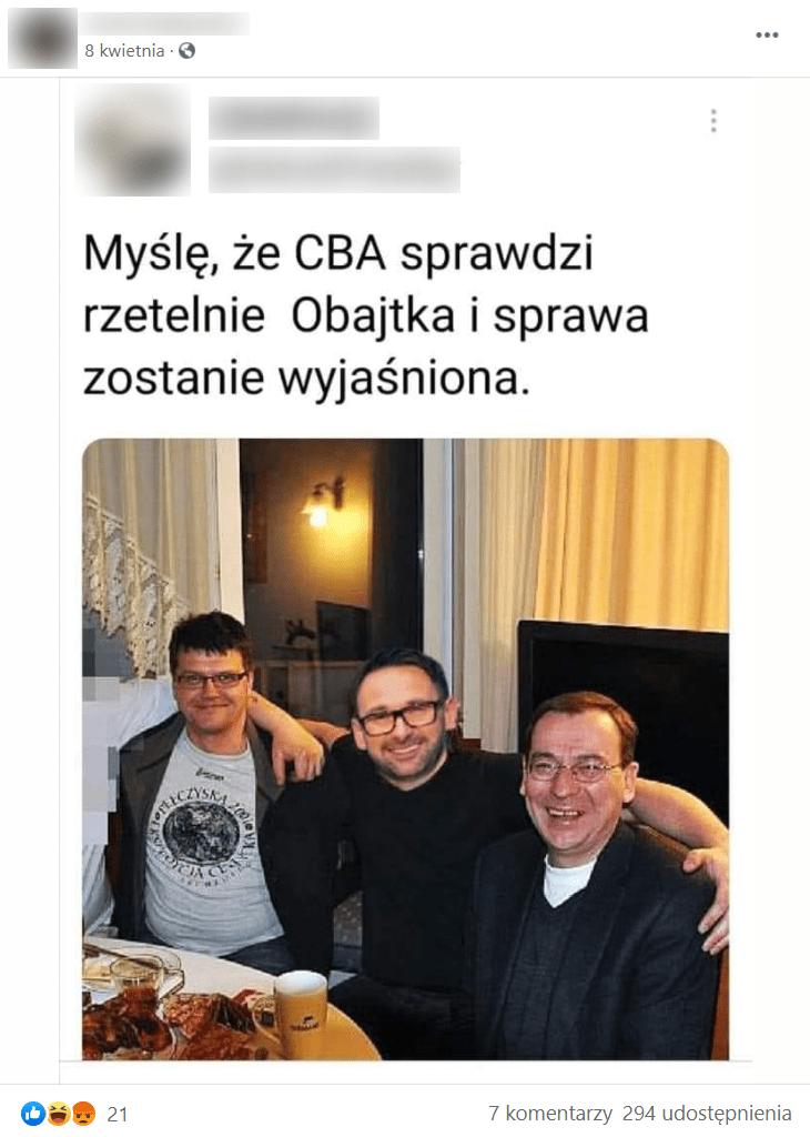 Zrzut ekranu zFacebooka. Nadołączonym zdjęciu widoczny jest Daniel Obajtek wtowarzystwie Mariusza Kamińskiego..