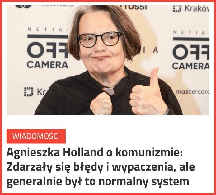 Grafika ze zmanipulowaną wypowiedzią Agnieszki Holland