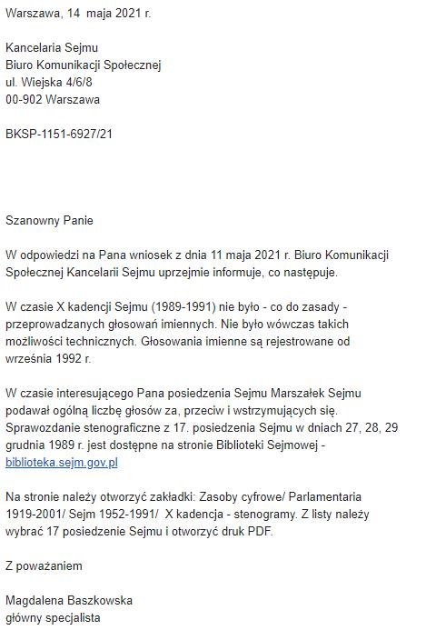 Mail od Sejmu