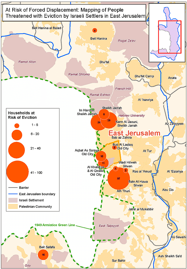 Mapa przedstawiająca rodziny palestyńskie mieszkające we Wschodniej Jerozolimie zagrożone eksmisją.