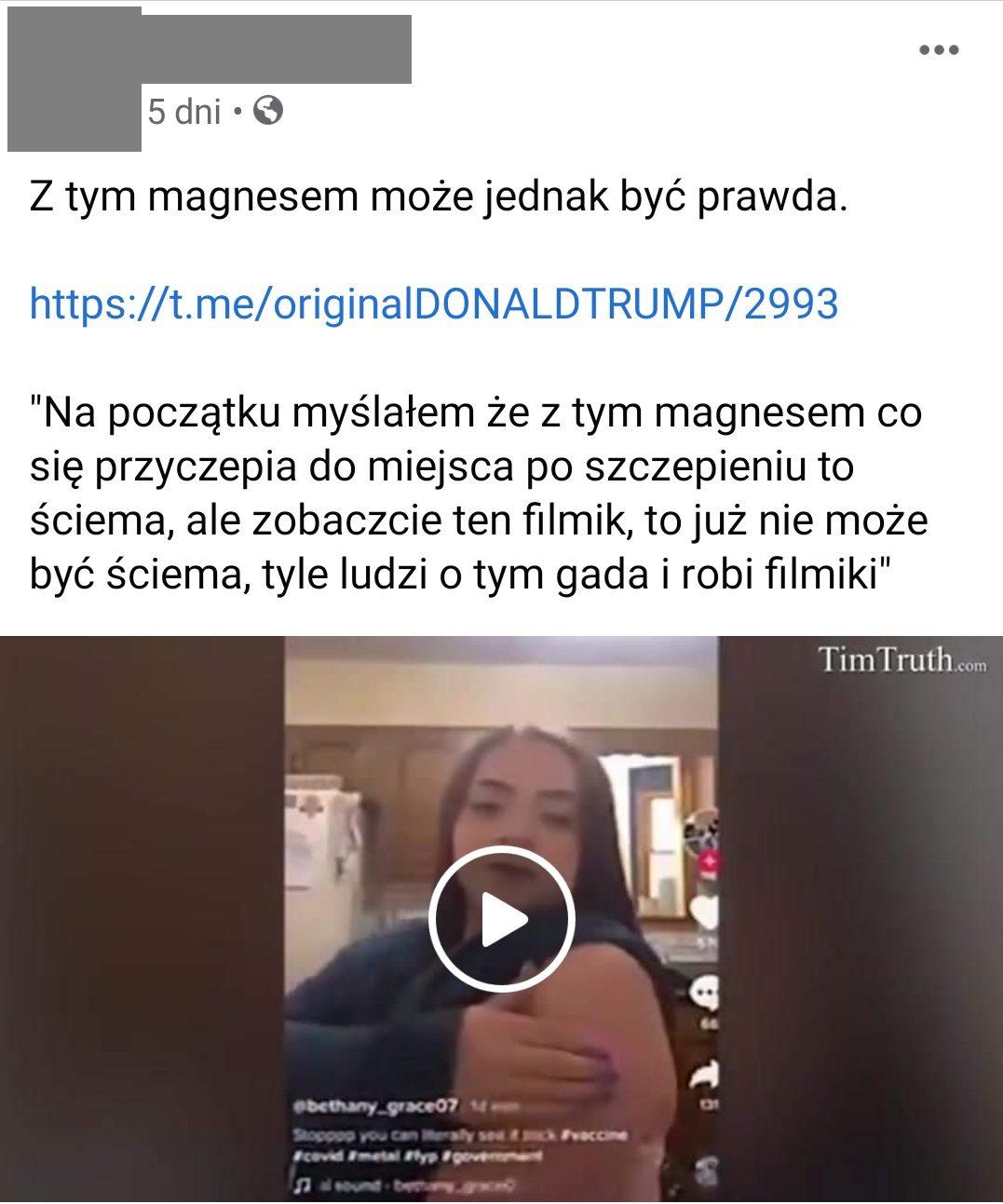 Zrzut ekranu zFacebooka. Dopostu dołączono film, naktórym różni ludzie sprawdzają, czymagnes faktycznie przyczepia się doramienia. We wszystkim przypadkach okazuje się, żetak jest.