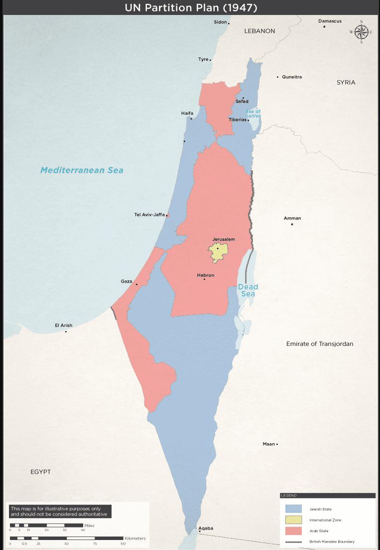 Mapa przedstawiająca plan podziału Palestyny nadwa państwa.