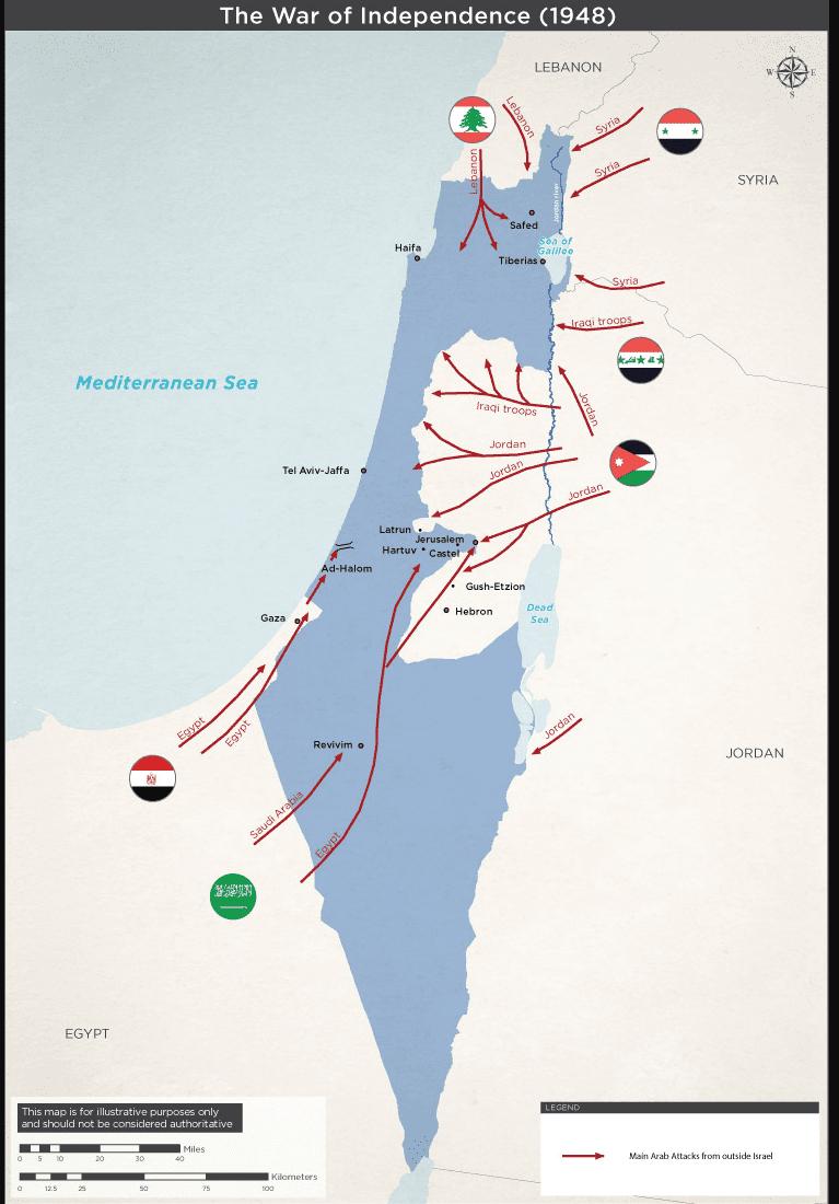 Mapa przedstawiająca kierunek ataku państw Ligi Arabskiej orazziemie należące doIzraela pozawarciu porozumienia poI wojnie arabsko-izraelskiej.