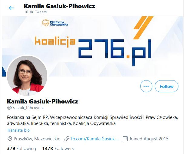 Zrzut ekranu zTwittera posłanki Kamili Gasiuk-Pihowicz. Widać, żeadres jej konta to @Gasiuk_Pihowicz.