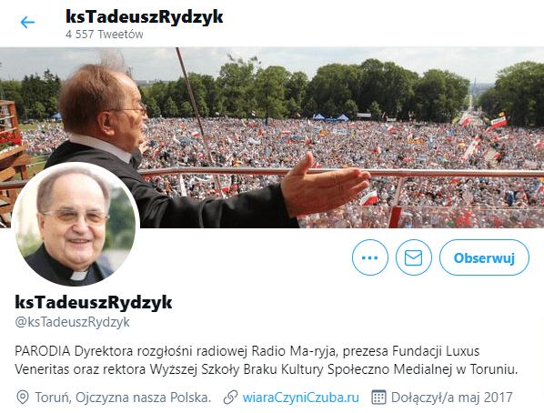 Zrzut ekranu profilu naTwitterze @ksTadeuszRydzyk.