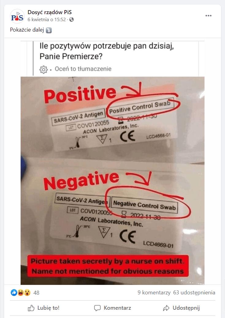 """Zrzut ekranu zFacebooka. Nafanpage'u Dosyć rządów PiS opublikowano grafikę, która przedstawia opakowania dwóch produktów leczniczych. Napierwszym znajduje się napis """"Positive Control Swab"""", ana drugim """"Negative Control Swab"""". Nagrafice możemy także przeczytać: """"Picture taken secretly by anurse on shift. Name not mentioned for obvious reasons"""". Dołączono doniej także tekst: """"Ile pozytywów potrzebuje pan dzisiaj, panie premierze?"""""""