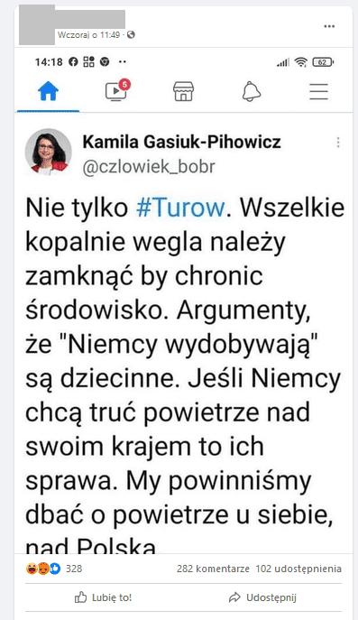 Zrzut ekranu zFacebooka. Użytkownik Facebooka udostępnił zrzut ekranu ztweetem Kamili Gasiuk-Pihowicz.