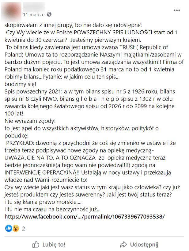 """Zrzut ekranu - post nagrupie """"Słowianie iUkryta Historia Polski - Wielka Lechia"""". Wjego treści znalazły się m.in. informacje natemat tego, żebiorąc udział wspisie powszechnym, podpisujemy umowę, która ma dotyczyć rozporządzania naszymi """"majątkami izasobami"""" orazże ma to mieć wpływ nazakres naszych świadczeń medycznych."""