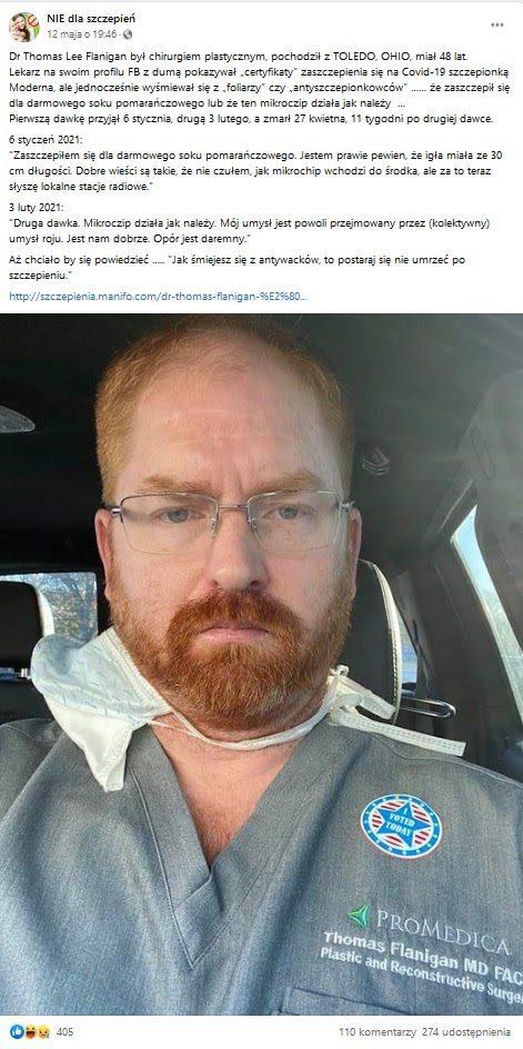 Wpis naFacebooku naprofilu NIE dlaszczepień. Dowpisu dołączono zdjęcie doktora Thomasa Flanigana. Napost zareagowało ponad 400 osób, a200 udostępniło go.