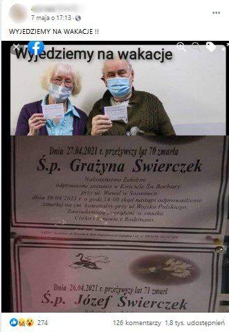 Post użytkownika Facebooka prezentujący dwie fotografie. Ugóry starsi państwo, udołu nekrologii.