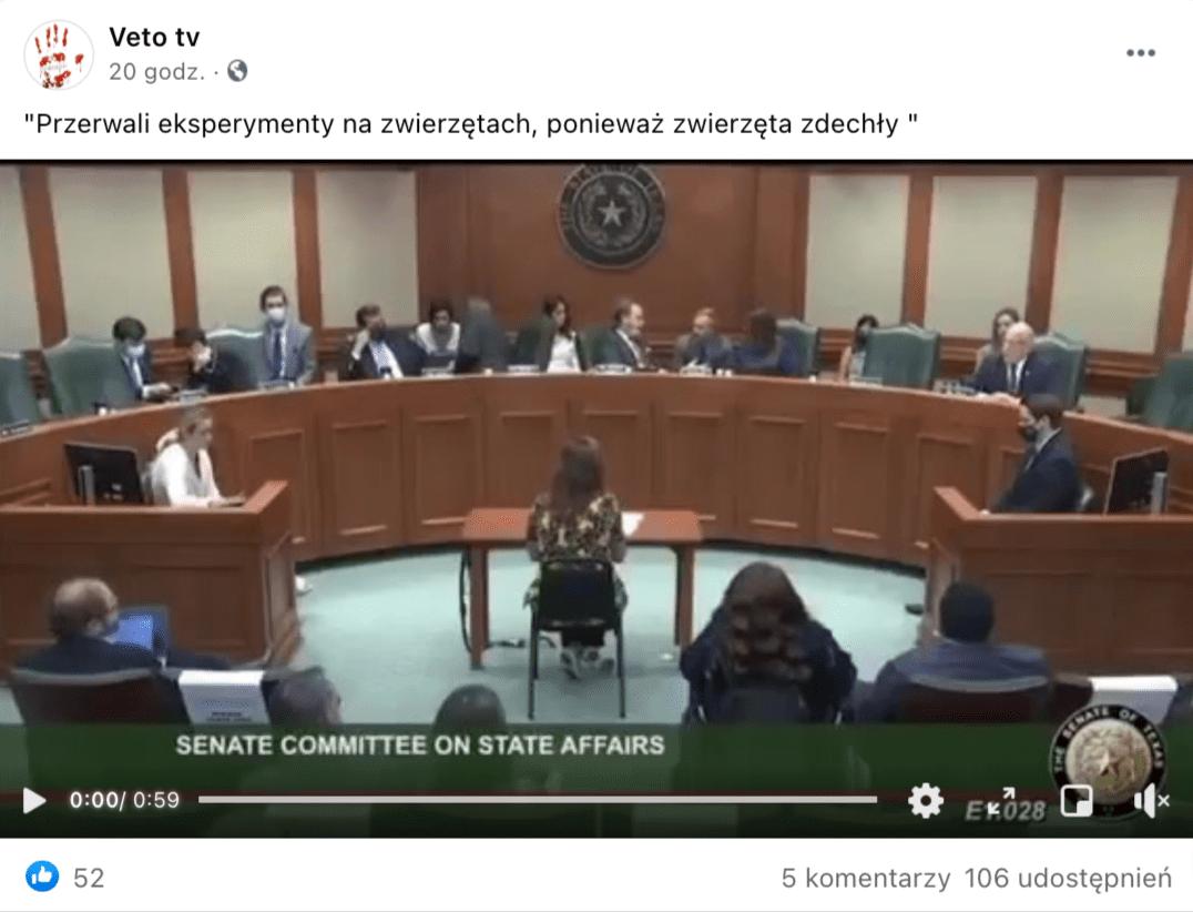 """Kadr zfilmu zamieszczonego naprofilu facebookowym """"Veto tv"""". Nasali posiedzeń teksańscy senatorowie przesłuchują Angelinę Farellę, pediatrę zTeksasu."""