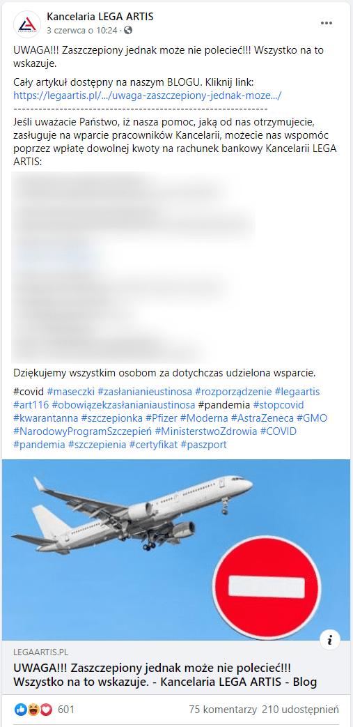 """Zrzut ekrany posta udostepnionego naFacebooku. Zilustrowany jest zdjęciem lecącego samolotu iznakiem drogowym """"zakaz wjazdu""""."""