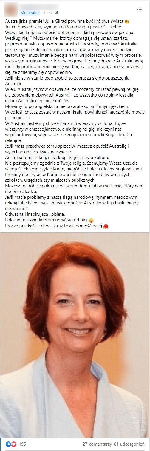 Zrzut ekranu przedstawiający omawianego posta. Dołączono doniego zdjęcie uśmiechniętej Julii Gillrad, ubranej wbladoniebieski żakiet.