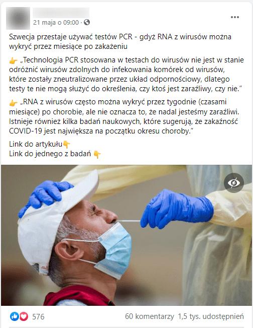 Zrzut ekranu posta opublikowanego naFacebooku. Nadołączonym zdjęciu widzimy zprofilu twarz mężczyzny wmaseczce iczapce, któremu pobierany jest wymaz znosa przezpracownika medycznego ubranego wstrój ochronny iniebieskie rękawiczki.